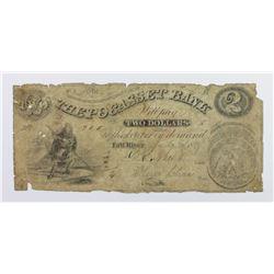 $2 POCASSET BANK SEATED DOLLAR VIGNETTE