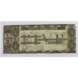 1808 VERMONT STATE BANK $5 XF