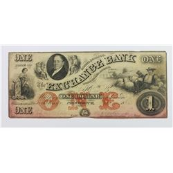 EXCHANGE BANK $1 RI 1850'S VERY SCARCE