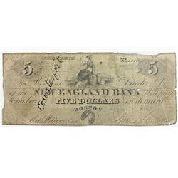 1863 $5 BOSTON NEW ENGLAND BANK
