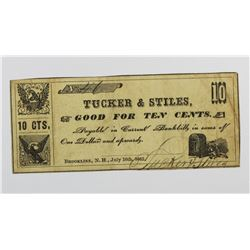 VERY SCARCE TUCKER AND STILES CIVIL WAR SCRIP