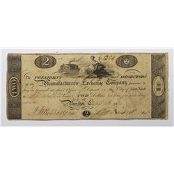 1814 $2 MANUFACTURER'S EXCHANGE COMPANY