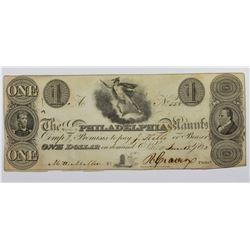 1828 $1 PHILADELPHIA MNFG. SALEM, PA