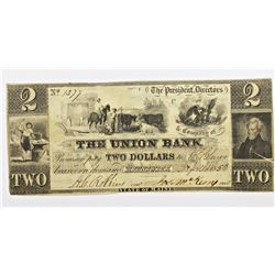 1858 $2 UNION BANKD BRUNSWICK, MAINE