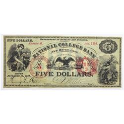 1873 $5 NATIONAL COLLEGE BANK