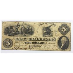 1859 $5 BANK OF CHARLESTON, VA