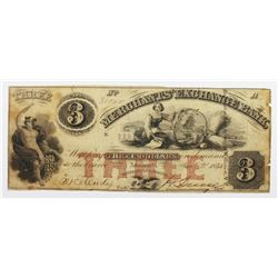 1854 $3 MERCHANTS EXCHANGE BANK