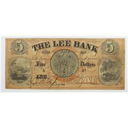 1857 $5 THE LEE BANK