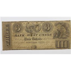 1838$3 BANK OF WEST UNION, OHIO