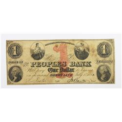 1862 $1 PEOPLE'S BANK, VERMONT