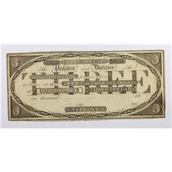 1820'S $3 VERMONT STATE BANK