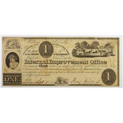 1840 $1 ILLINOIS INTERNAL IMPROVEMENT OFFICE