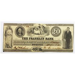 1836 $20 FRANKLIN BANK BOSTON