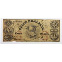 1863 $3 BULLSHEAD BANK NEW YORK