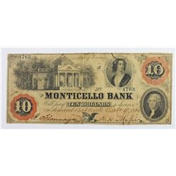 1860 $10 VIRGINIA MONTICELLO BANK CHARLOTTESVILLE