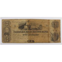 RARE WASHINGTON D.C. FARMERS AND MERCHANTS $2