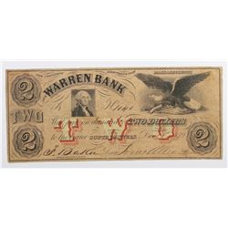 1859 $2 WARREN BANK