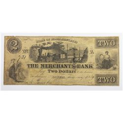 1859 $2 MERCHANTS BANK
