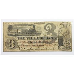 1856 $3 THE VILLAGE BANK