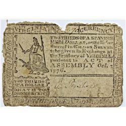 10-7-1776 VIRGINIA COLONIAL $2/3