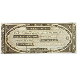 1808 $1.00 VERMONT BANK OF WINDSOR