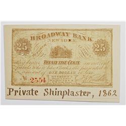 1862 PRIVATE SHINPLASTER TWENTY FIVE CENTS