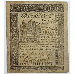 5/1/1777 1 SHILLING DELAWARE COLONIAL