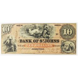 1857 BANK OF ST. JOHNS, FLORIDA $10.00