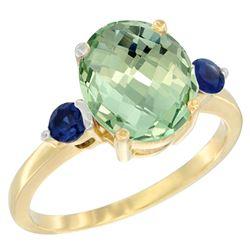 2.64 CTW Amethyst & Blue Sapphire Ring 14K Yellow Gold - REF-32A3X