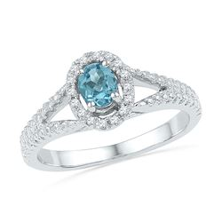 Oval Lab-Created Blue Topaz Solitaire Diamond Ring 1/2 Cttw 10kt White Gold