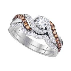 Diamond Bridal Wedding Engagement Ring Band Set 7/8 Cttw 14kt White Gold