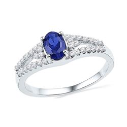 Oval Lab-Created Blue Sapphire Solitaire Diamond Ring 1.00 Cttw 10kt White Gold