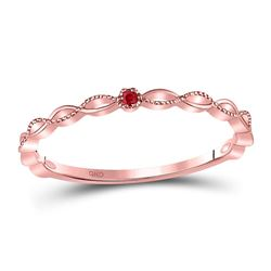 Round Ruby Solitaire Beaded Stackable Band Ring .01 Cttw 10kt Rose Gold