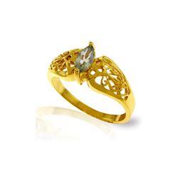 Genuine 0.20 CTW Green Amethyst Ring 14KT Yellow Gold - REF-47H2X