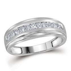 Mens Diamond Single Row Wedding Band Ring 1/2 Cttw 10kt White Gold