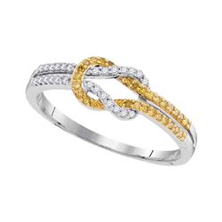 Round Yellow Color Enhanced Diamond Knot Lasso Band Ring 10k White Gold