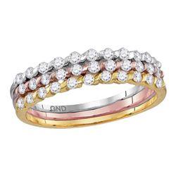 Diamond Band Ring 1/2 Cttw 10kt Tri-tone Gold