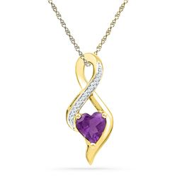 Lab-Created Amethyst Heart Solitaire Infinity Pendant 1/20 Cttw 10kt Yellow Gold