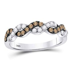 Round Brown Diamond Braided Band Ring 1/2 Cttw 10kt White Gold