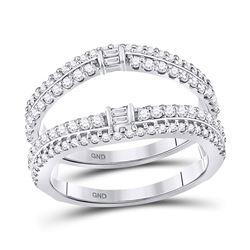 Baguette Diamond Wrap Ring Guard Enhancer 3/4 Cttw 14kt White Gold