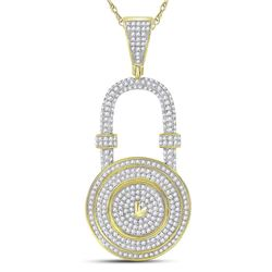 Mens Diamond Bank Padlock Charm Pendant 7/8 Cttw 10kt Yellow Gold
