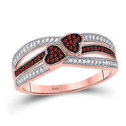 Round Red Color Enhanced Diamond Double Heart Striped Ring 1/5 Cttw 10kt Rose Gold