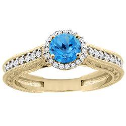 1.24 CTW Swiss Blue Topaz & Diamond Ring 14K Yellow Gold - REF-57M4K