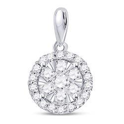 Diamond Halo Flower Cluster Pendant 3/4 Cttw 14kt White Gold