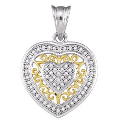 Diamond Openwork Heart Pendant 1/6 Cttw 10kt Two-tone Gold