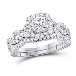 Diamond Twist Bridal Wedding Engagement Ring Band Set 1.00 Cttw 14kt White Gold