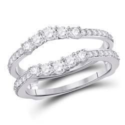Diamond Wrap Ring Guard Enhancer 3/4 Cttw 14kt White Gold
