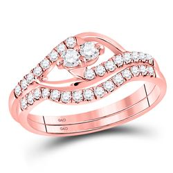 Diamond 2-Stone Bridal Wedding Engagement Ring Band Set 1/2 Cttw 10kt Rose Gold