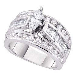 Marquise Diamond Solitaire Bridal Wedding Engagement Ring 2.00 Cttw 14kt White Gold