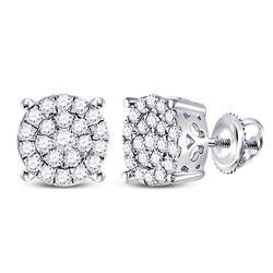 Diamond Fashion Cluster Earrings 1.00 Cttw 10kt White Gold